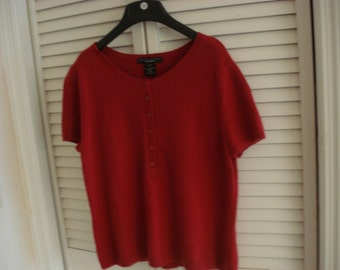 RED CASHMERE Sweater  L 100% CASHMERE Short Sleeve  Sz L14-16 Bust 34 Vintage