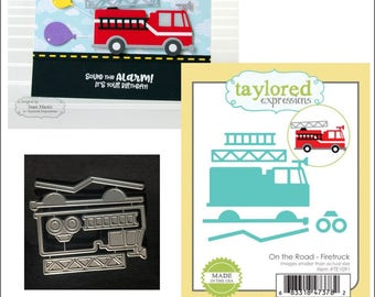 Firetruck metal border die by Taylored Expressions cutting dies TE1091 fire truck - use in nearly all universal machines