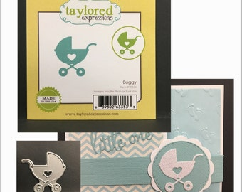 Baby Carriage metal die BUGGY Taylored Expressions dies - TE536 baby cards,showers,and congratulations - universal die