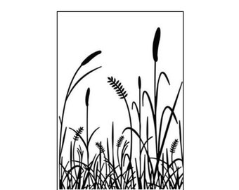 Embossing folder Cattails by Darice Craft Folders Cuttlebug,Sizzix & Universal machine compatible - card making and scrapbooking