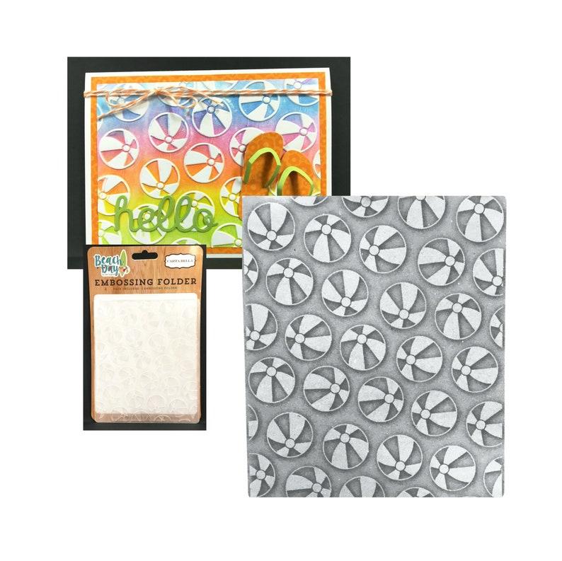 card making and scrapbooking Embossing Folder Beach Ball Carta Bella Summer Pool Folders Sizzix,Cuttlebug,Universal machine compatible
