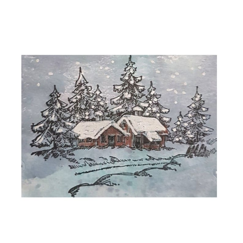invitations,and Cardmaking WT002 Wintery House Cling Stamp Nellie Snellen clear stamps Christmas Winter House Scene for Scrapbooking