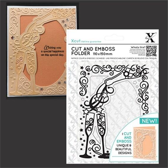 Champagne Frame embossing folder XCUT cut & emboss embossing | Etsy