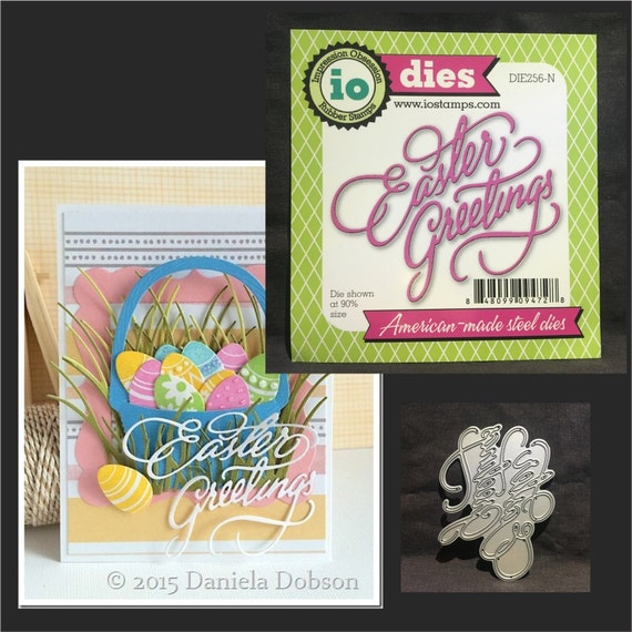 Easter greetings metal cutting die words by impression etsy image 0 m4hsunfo
