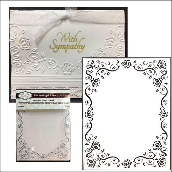 Ornate Rose Frame embossing folder by Sue Wilson embossing | Etsy