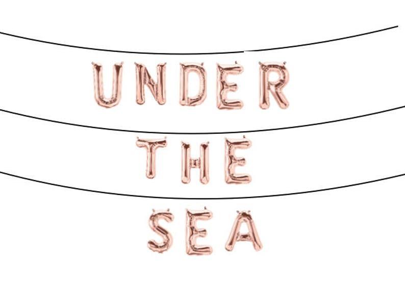 Mermaid princess theme Birthday Under the Sea Balloon Banner Baby shower Rose gold 1st Birthday balloon banner