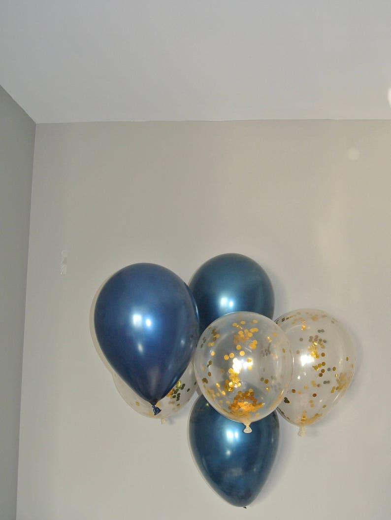 Navy And Clear Gold Confetti Latex Balloons First Birthday Etsy