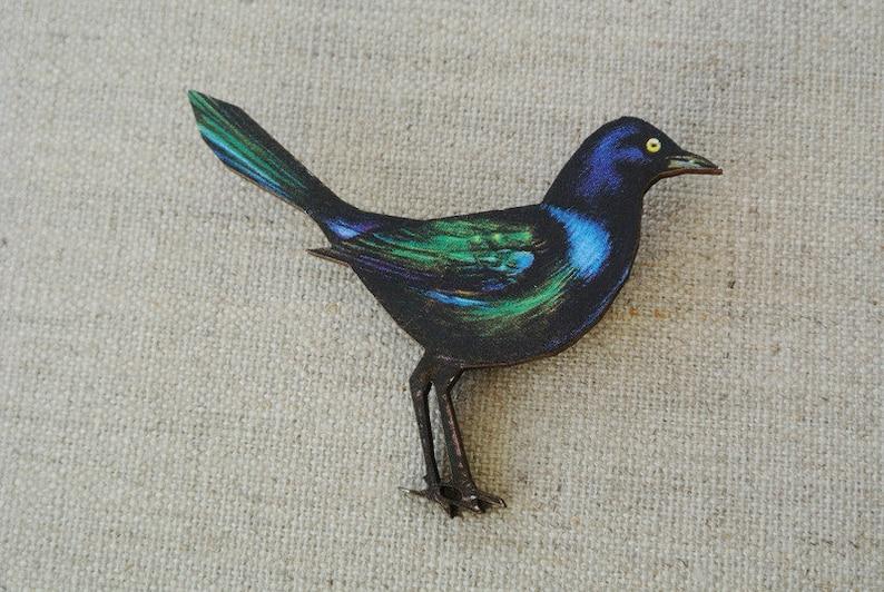 Brooch Bird Dohle Wood image 0