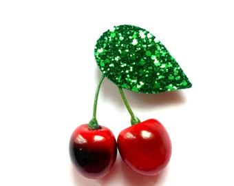 1950's inspired Rockabilly Novelty Glitter Cherry Brooch