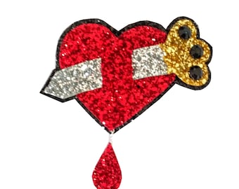 10% off with the code BDAY10  1940s inspired Glittered Daggered Heart Novelty Brooch