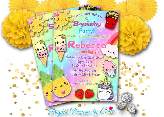 squishy party invitation squishes party invitation squishy etsy
