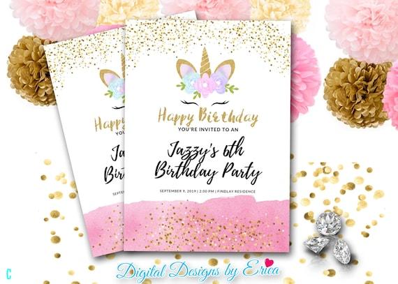 Pink Girls Unicorn Birthday InvitationUnicorn Invitation