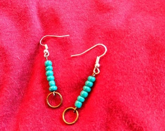 teal negative space dangles