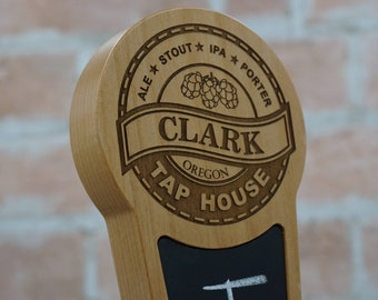 Custom Beer Tap Handle Laser Engraved with Chalkboard Insert - Tap House Edition- Personalized Kegerator Tap Handle