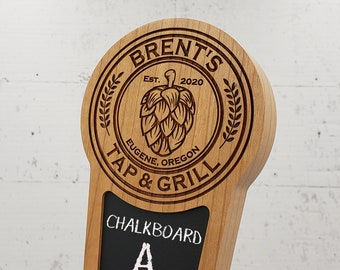 Custom Beer Tap Handle with Chalkboard Insert, Hop Edition, Personalized Laser Engraved Kegerator Tap Handle
