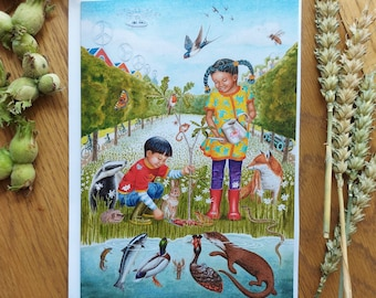 Greetings card x3: A5 From little acorns grow, with donation to WWF