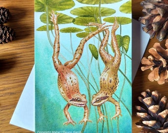 Greetings card x3: Diving Frogs