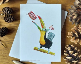 Greetings card x3: Keel-billed Toucan with party hat and cake