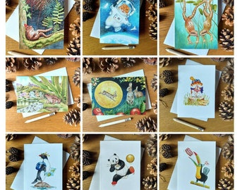 Variety of 10x wildlife and cute animal cards:  rabbit, toad, frog, hamster, giant panda, toucan, penguin and tree planting (A6 size)