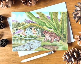 Greetings card x3: Common Toad at Haytor Quarry