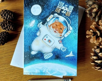 Greetings card x3: Space Hamster card
