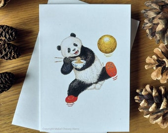 Greetings card x3: Giant panda eating noodles and playing football soccer