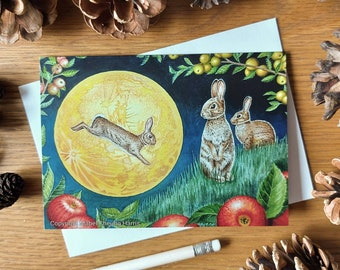 Greetings card x3: Rabbits watching harvest moonrise