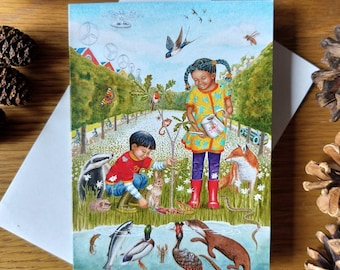 Greetings card x3: A6 From Little Acorns Grow Winner of WWF-UK Just Imagine art competition