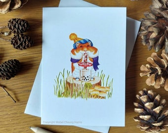 Greetings card x3: Hamster drinking bubble tea