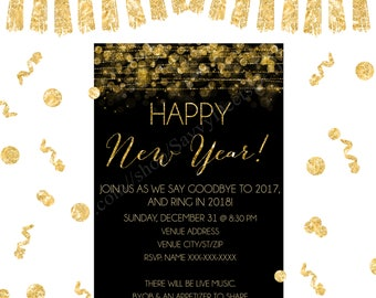 new years eve party invitation printable gold bokeh invitation new years eve party nye invitation diy printable printable