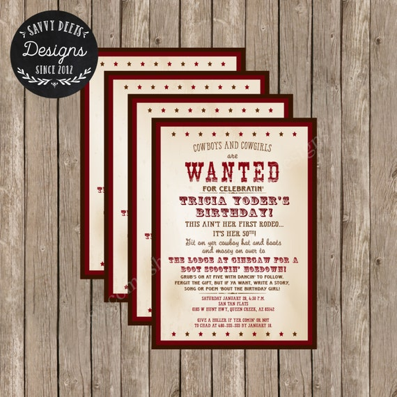 Adult Western Themed Birthday Invitation Printable Wanted Etsy