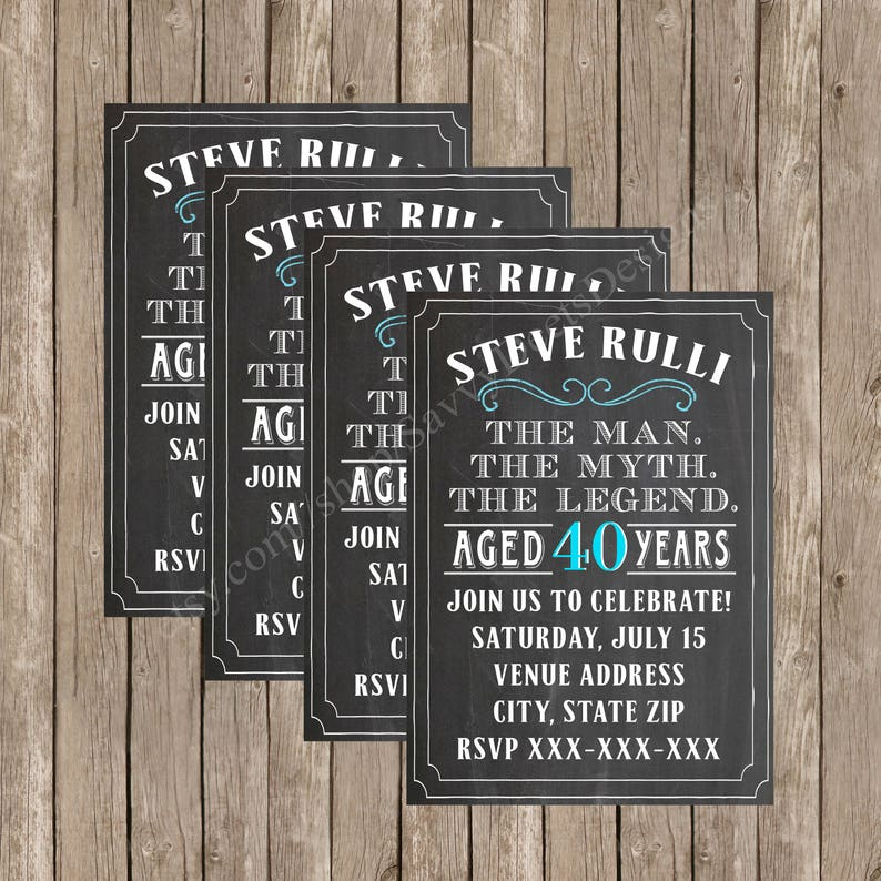 Man Myth Legend Birthday Invitation Vintage Dude
