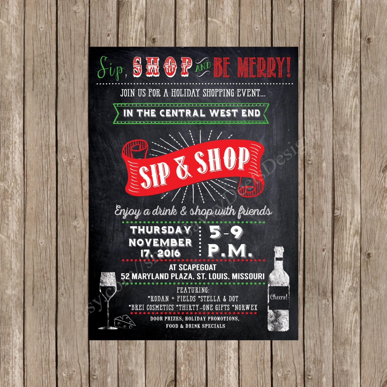 Holiday Sip n Shop Invitation Printable Holiday Shopping | Etsy