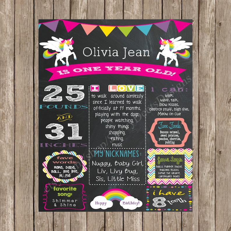 Rainbow Birthday Unicorn and Rainbow Birthday Theme DIY Printable Unicorn Birthday Chalkboard Sign
