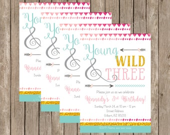 Young Wild and Three Birthday Invitation - Young Wild and Free Party Invitation - 3 Year Old Birthday Invitation - Boho Birthday Invitation