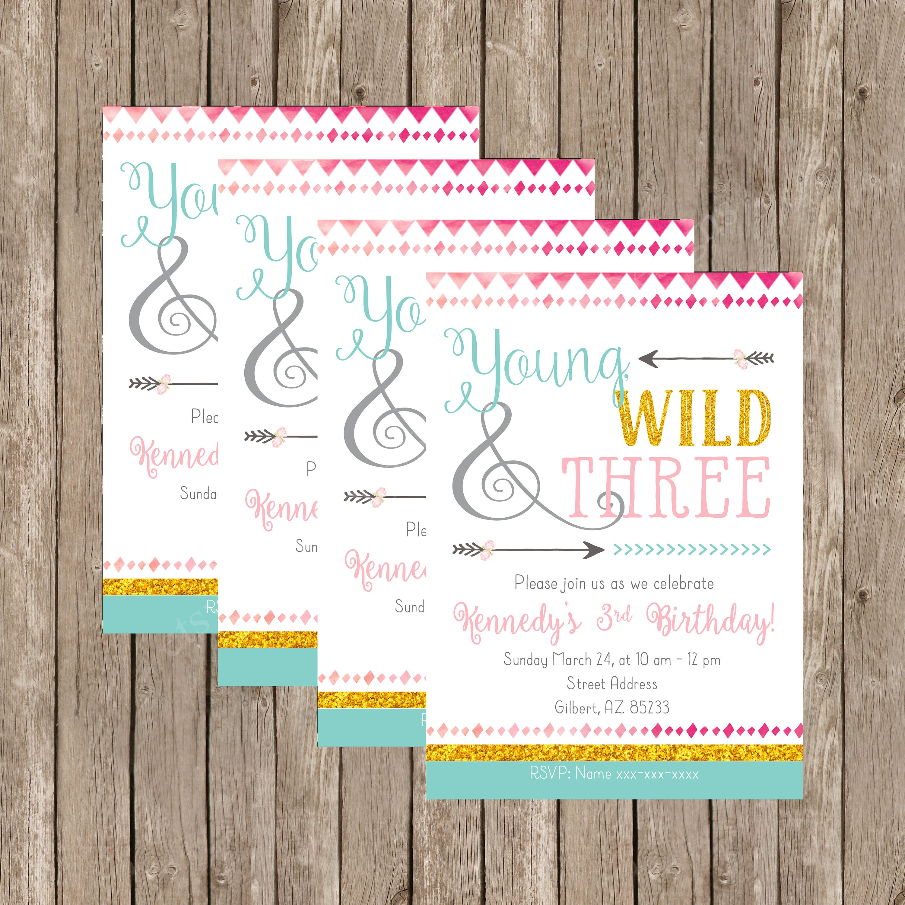 Young Wild And Three Birthday Invitation Free