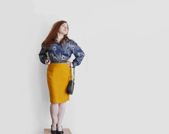 Vintage mustard yellow skirt, womens mustard pencil skirt with lining, knee lenght