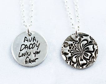 Memorial Jewelry Signature Necklace Your Loved One's Actual Writing or Signature on a small circle Silver Pendant - Handwriting Jewelry