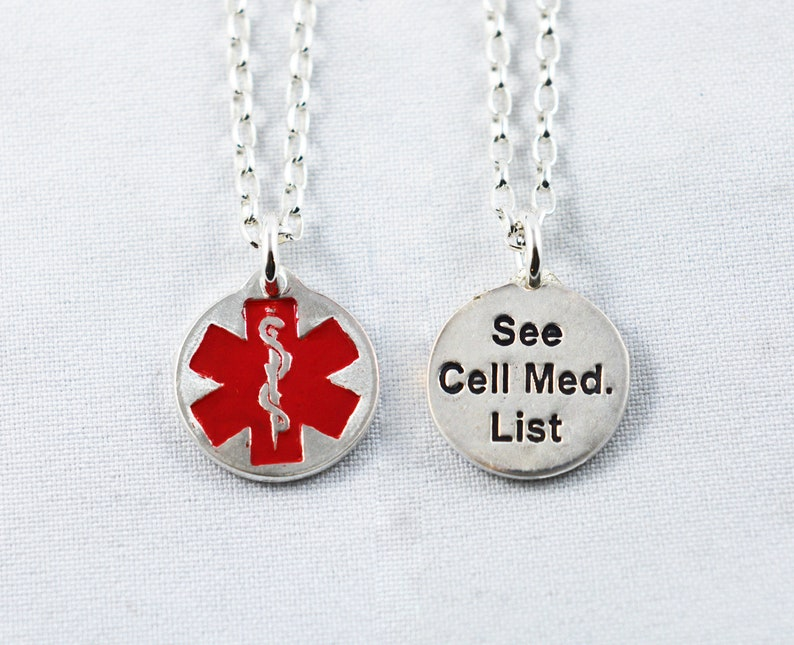 allergies or instructions on the back Custom Made Silver Medical Alert Necklace with conditions