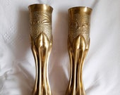 French Trench Art Vases, 75mm Field Gun Shell Vases 1916, Beautifully Worked Fluted Design, Fired During Battle of Verdun
