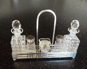 Antique Condiment Set, French Art Deco Cruet Set By Fernand Poisson, Silver and Crystal, Circa 1920