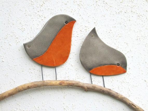 The Robin Wall Art Ceramic Garden Decor Outdoor Wall Art Perching Birds Wall Art Birds Wall Decor