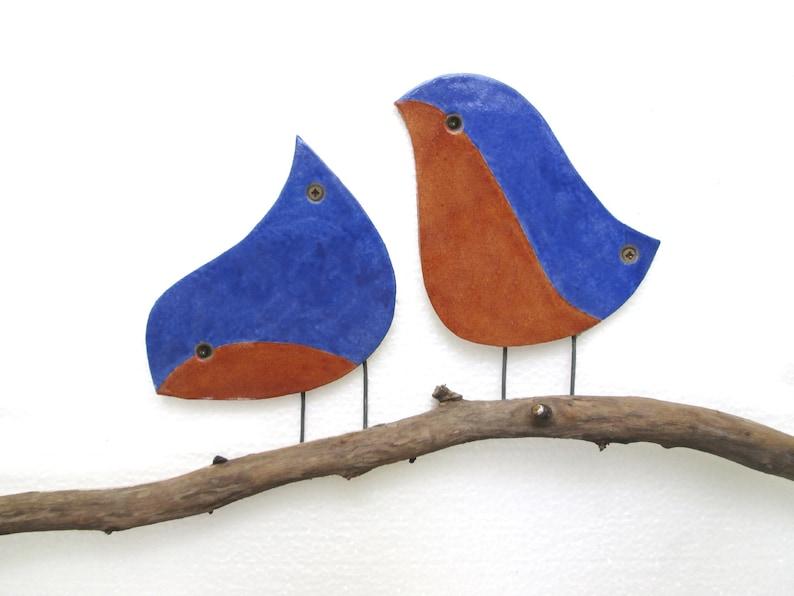 Blue Birds Outdoor Wall Art Set Of 2 Blue Birds Bird Garden Art Ceramic Wall Art Garden Decor