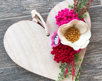 Wooden heart with felt flowers and greenery--Valentine's Day Decor