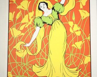 La Fiesta -- M.E. Curray -- Art Nouveau Poster -- Vintage Serigraph Print