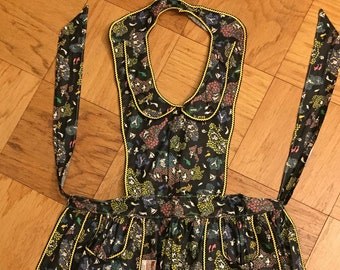 Vintage Modelform Apron, NEW with PAPER TAG,  1940s/50s, Kitsch Kitchen Decor, Black Apron with Yellow Piping, Country Kitchen Apron
