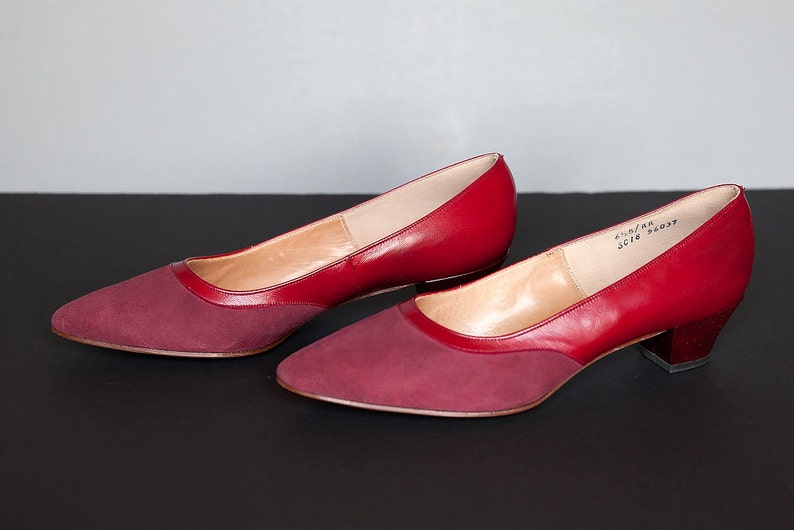 316bde2e14b89 SALE! Vintage Red Leather and Suede Shoes by Gamins, Andrew Geller, Size  6.5B NEW! Retro Women's Pumps 1960s, Mad Men Style Womens Red Shoes