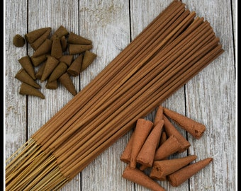 Sandalwood Patchouli Hand Crafted, Scented Incense Made in the USA (Cones, Backflow and Sticks)