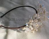Bridal Headdress - Handmade Swarovski Crystal & Pearl Side Detail Headband Tiara