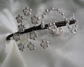 Bridal Headdress - Swarovski Crystal & Pearl Flower Spray Side Detail Headband Tiara